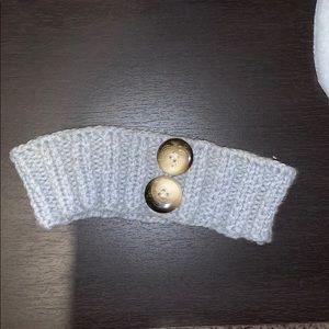 Grey Knitted Headband with Buttons